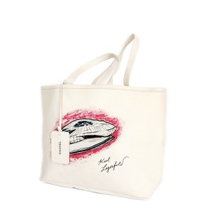 Chanel Lagerfeld Tote in White