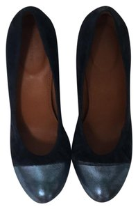 Leifnotes navy blue Wedges