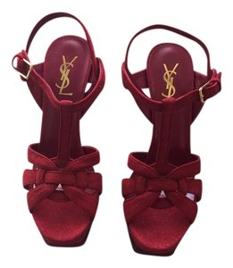 Saint Laurent Ysl Tribute Leather Yves Red Sandals