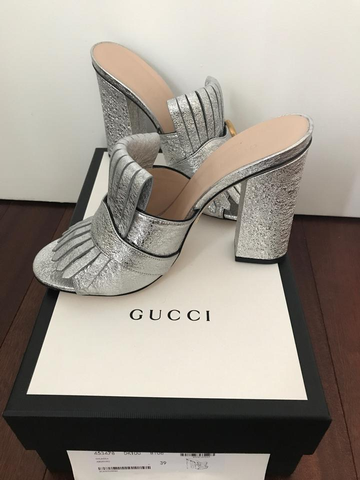 1735b04622b3 Gucci Silver Marmont Fringed Mules Slides Size EU 39 (Approx. US 9 ...