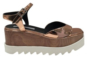 Stella McCartney Ankle Strap Side Buckle Made In Italy Sole Open Toe Metallic Rose gold Platforms