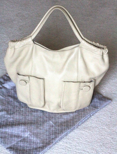 Bodhi Shoulder Leather Large Hand Tote in beige