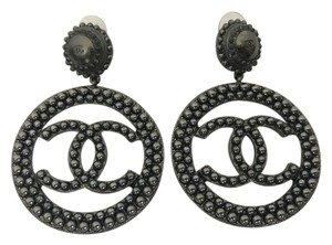 Chanel Chanel Large Ruthenium CC Logo Pearl Disk Hoop Statement Earrings