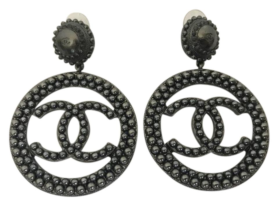 Chanel Large Ruthenium Cc Logo Pearl Disk Hoop Statement Earrings