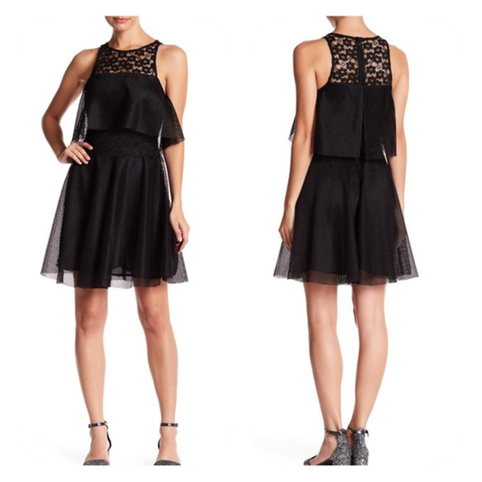 54f4db6ed3 Betsey Johnson Black Lace Front Popover Tiered Short Cocktail Dress ...