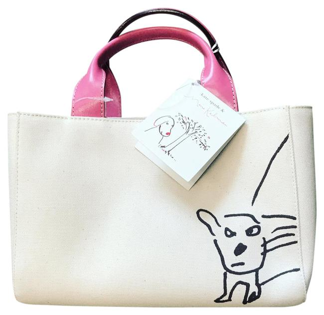 Item - Cream and Pink Canvas Baguette