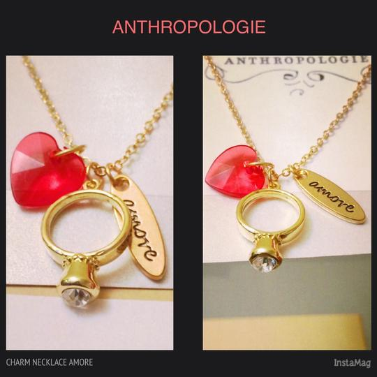 Anthropologie Bridal Vintage Gold Engagement Ring Necklace