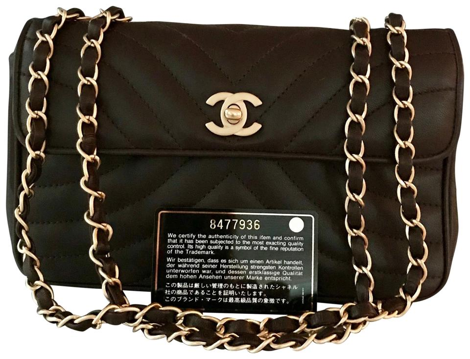 30aff5d92275 Chanel Classic Flap Vintage Chocolate Brown Lambskin Leather ...