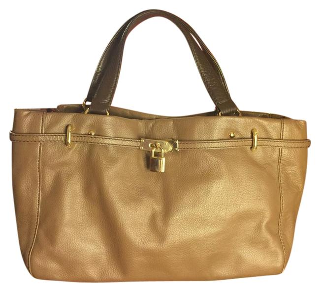 Item - Nwot-barr New York Brown-taupe Pebbled Leather/Dark Brownhandles Tone Accented/Lock-key Tote Taupe-brown/Dark Brown/Gold Leather Satchel