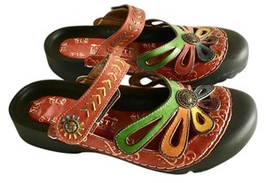 Spring Step Hand-painted Leather Comfortable Multi-colored Velcro Red multi Sandals