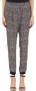 Barneys New York Herringbone Abstract Slouchy Cuffed Cropped Relaxed Pants Black/Grey