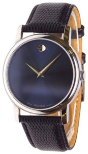 Movado Leather Strap Blue Dial Museum Classic 2100007 Watch