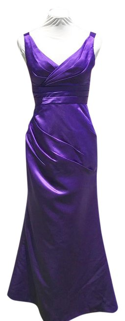 Item - Purple Violet Satin Fitted Mermaid Gown Long Formal Dress Size 4 (S)