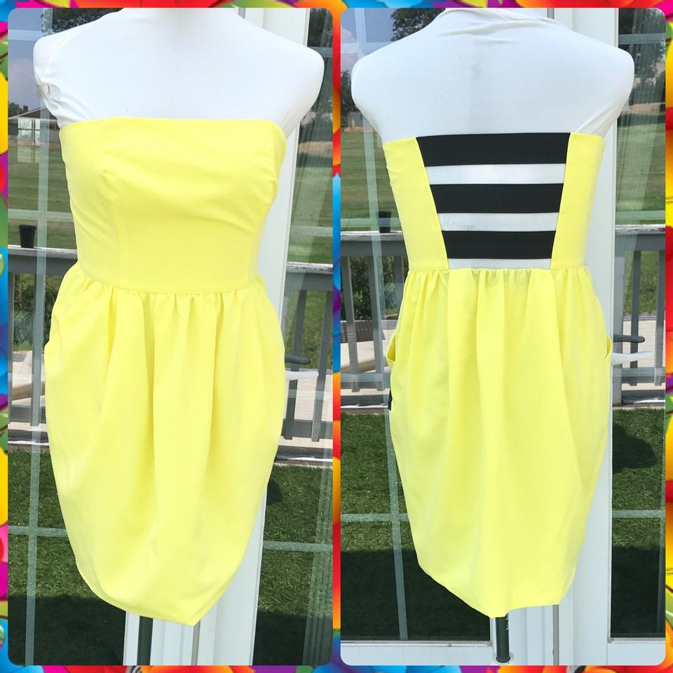 Rachel Roy Yellow Canary Strapless Cage Back Short Cocktail Dress ...