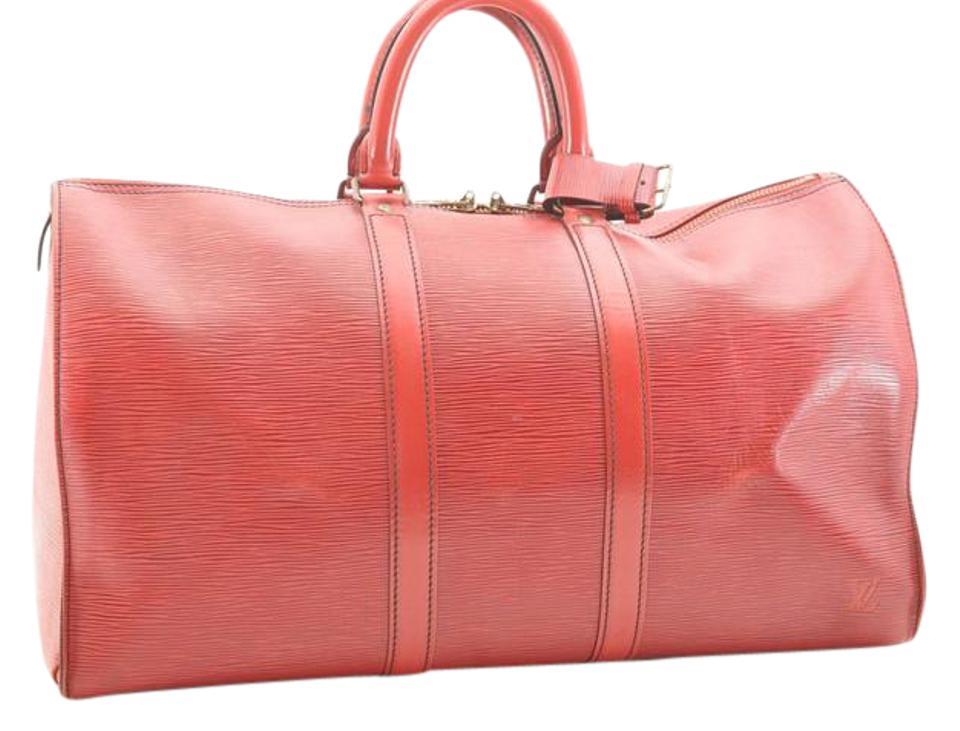 be2a82a3ba76 Louis Vuitton Keepall 45 Boston Lv Red Epi Leather Weekend Travel ...