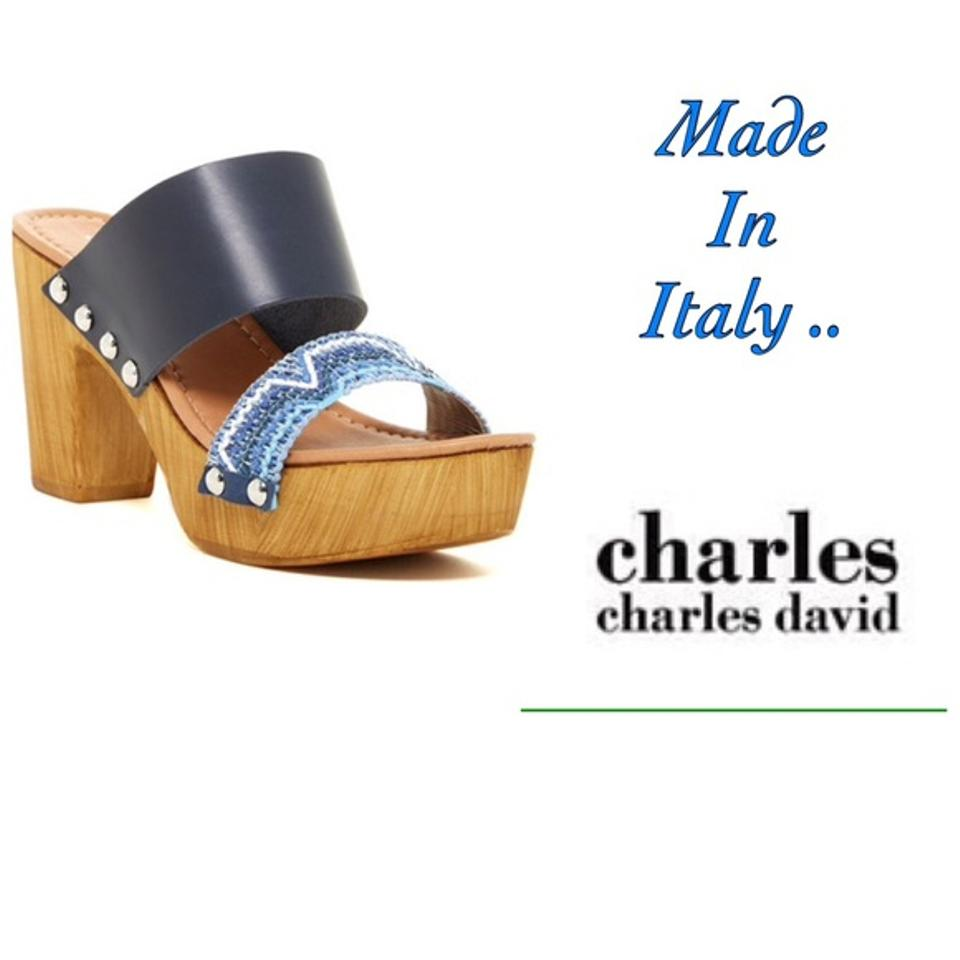 72a033e1b7f Charles David Made In Italy Leaher Blue   Nautral Wood Sandals Image 0 ...