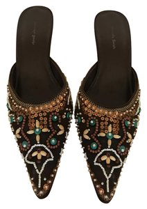 Amanda Smith Beaded Pointed Toe Exotic Moroccan Brown Green Tan White Mules