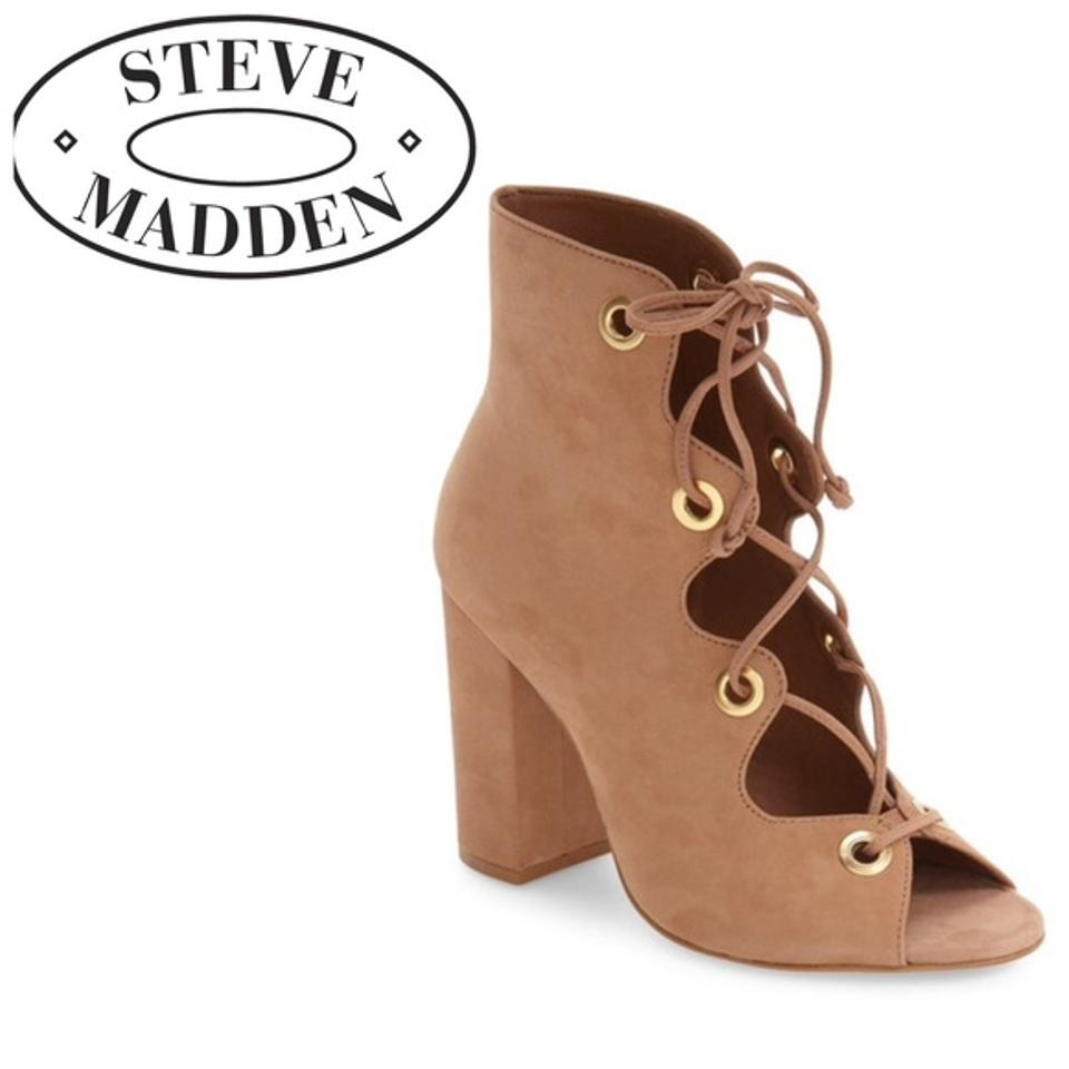 eae3d883ef8 Steve Madden Tan Carruso Lace-up Peep Toe Boots Booties Size US 8 ...