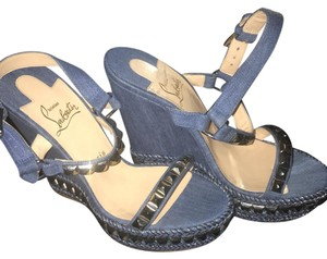 Christian Louboutin blue/silver Wedges