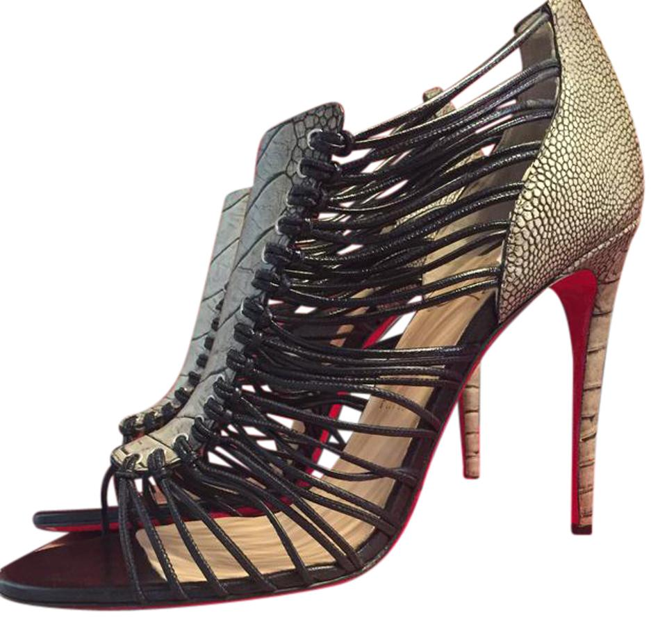 ccf87ef69f8 Christian Louboutin Black/White Amal 100 Python Strap Bootie Heel Pump  Sandals Size EU 41 (Approx. US 11) Regular (M, B) 51% off retail