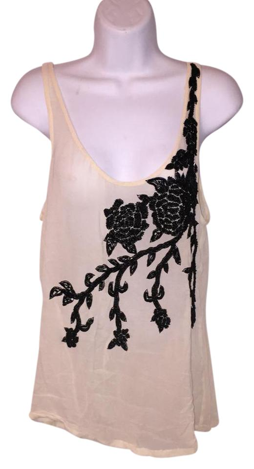 505e942b4ae7bc Haute Hippie Cream & Black Silk Chiffon Beaded Tank Top/Cami. Size: 4 ...