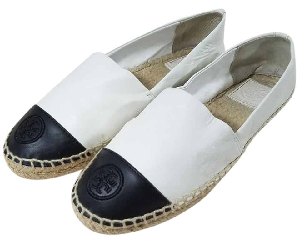 0fe93b5f750 Tory Burch White Black Colorblock Leather Espadrille Flats Size US 9 ...