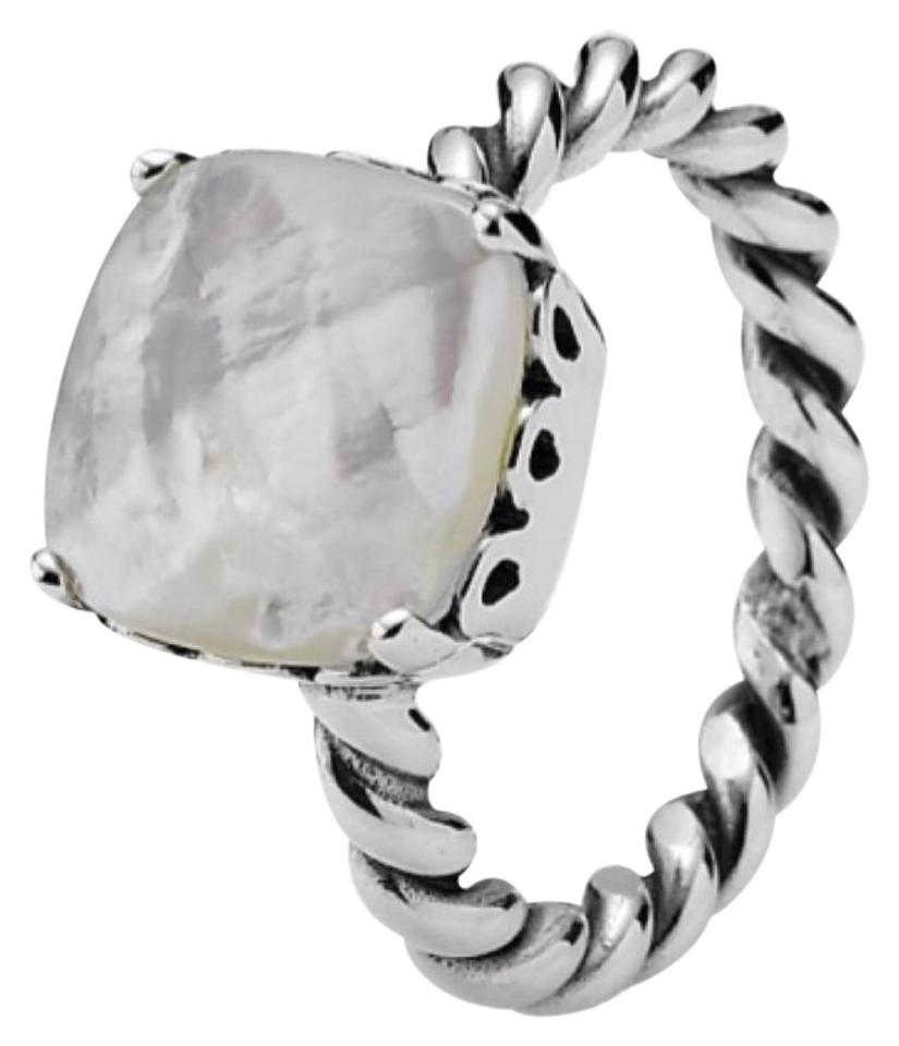 cf8915414 PANDORA Silver White Mother Of Pearl Sincerity Twist Ring - Tradesy