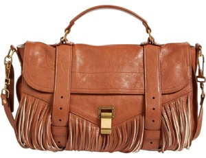 Proenza Schouler Fringe Leather Satchel in BROWN/TAN
