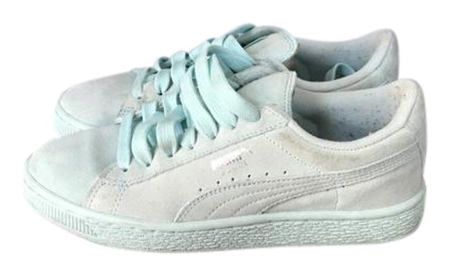 Item - Clear Water/ Silver Suede Classic Jr. Sneakers Size US 4 Regular (M, B)
