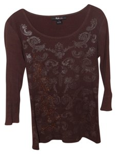 Style & Co T Shirt Brown 3/4 sleeve