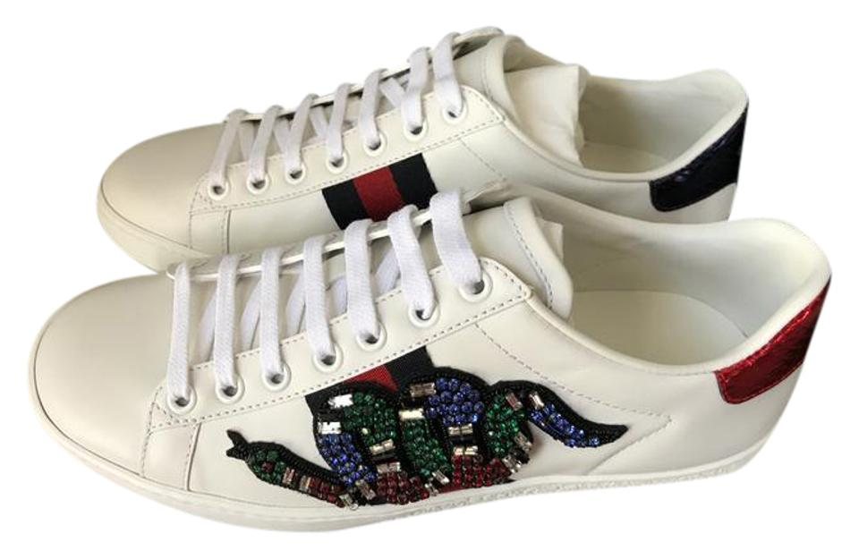 87e16cd9398 Gucci White New Ace Crystal-embroidered Snake Leather Low-top ...