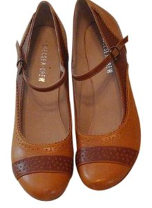 Chelsea Crew Leather Ankle Strap Yellowish Tan and brown Pumps