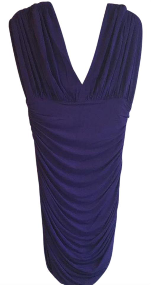 0a03036b6a98 BCBGMAXAZRIA Purple Ruched Bodycon Short Night Out Dress Size 12 (L ...