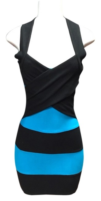 Item - Turquoise and Black Night Out Dress Size 8 (M)