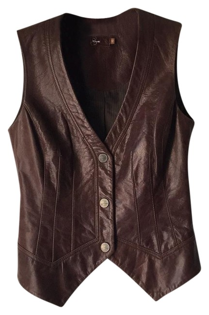 Item - Brown Leather Aiden Vest Size 0 (XS)