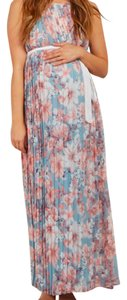 PinkBlush Light Blue Floral Pleated Sash Tie Maternity Maxi Dress
