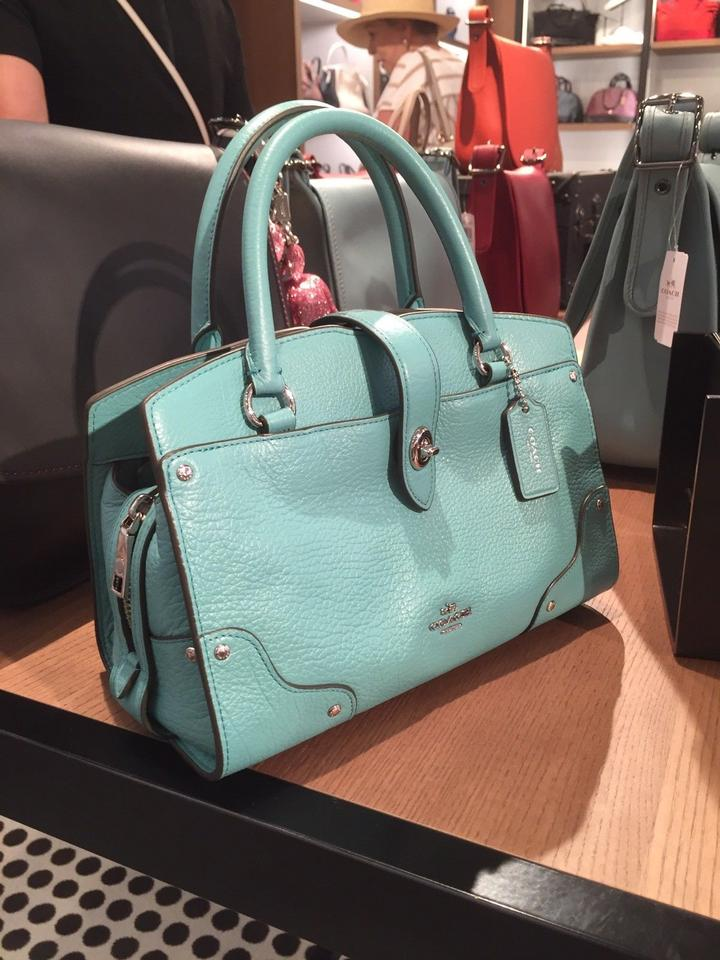 Coach Mercer 24 Grain Pebble Carryall 37779 Aqua Green Leather ... 3f788c1418a05