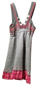 Free People short dress Gray and Red with silver buttons on Tradesy