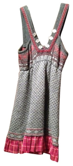 Free People short dress Gray and Red with silver buttons Cute Holiday Mini Fun on Tradesy