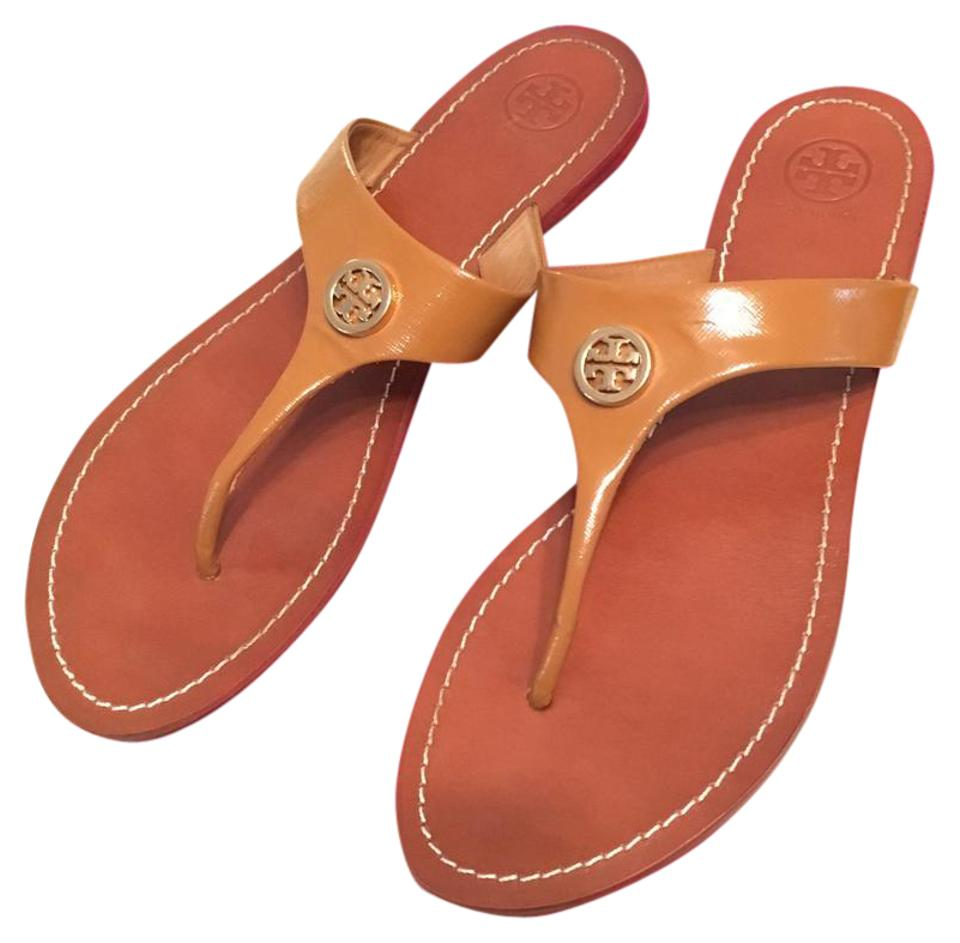 0331a867b83 Tory Burch Tan with Gold Logo Cameron Thong Patent Saffiano Leather Sandals