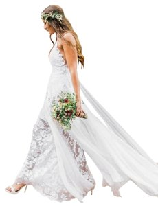 Grace Loves Lace White Italian Silk Chiffon and Stretch French Hollie Destination Wedding Dress Size 4 (S)