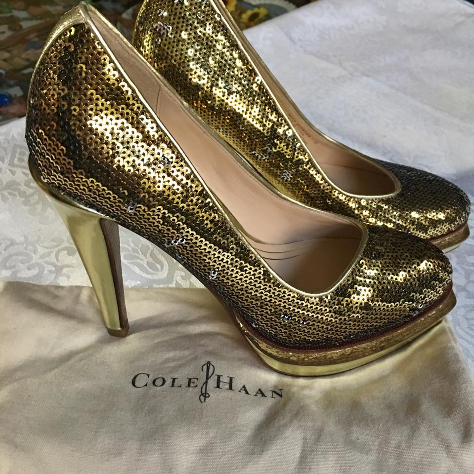 new cheap new appearance crazy price Cole Haan Chelsea Double Gold Sequin Pumps Platforms Size US 5.5 Regular  (M, B) 79% off retail