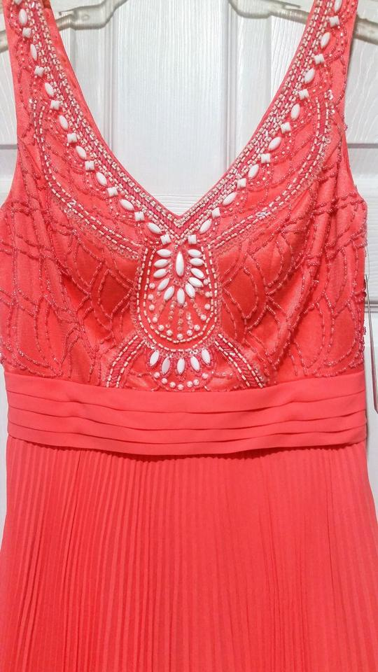 1f8c8da0a6f Sue Wong Coral Beaded Pleated Short Cocktail Dress Size 4 (S) - Tradesy
