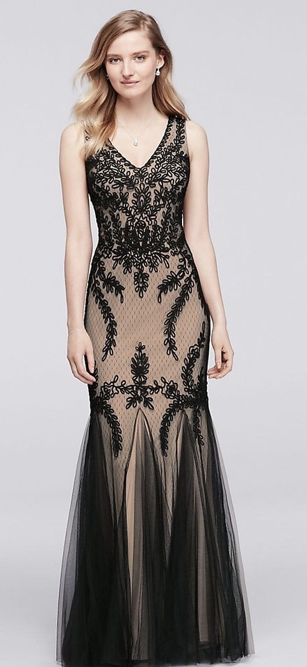 0a49208f050f Cachet Black/Nude Polyester Sleeveless Long Soutache Skirt Godets 57058  Formal Bridesmaid/Mob Dress ...