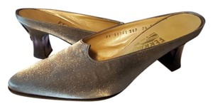 Salvatore Ferragamo Metallic Grey and Black Slip On Silver Party Heels - Nwot Formal Size US 7.5 Regular (M, B)