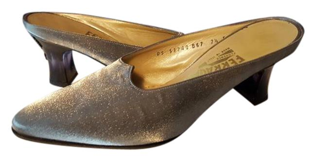 Item - Metallic Grey and Black Slip On Silver Party Heels - Nwot Formal Size US 7.5 Regular (M, B)