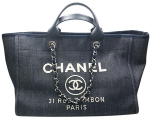 2f30c48ab824 Added to Shopping Bag. Chanel Tote in Blue. Chanel Deauville Bag Denim  Large Blue Canvas Tote. Listed by Lar Vintage