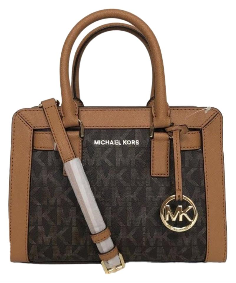 59167e43b19f Michael Kors Dillon Small Monogram Msrp Brown Coated Canvas Satchel ...
