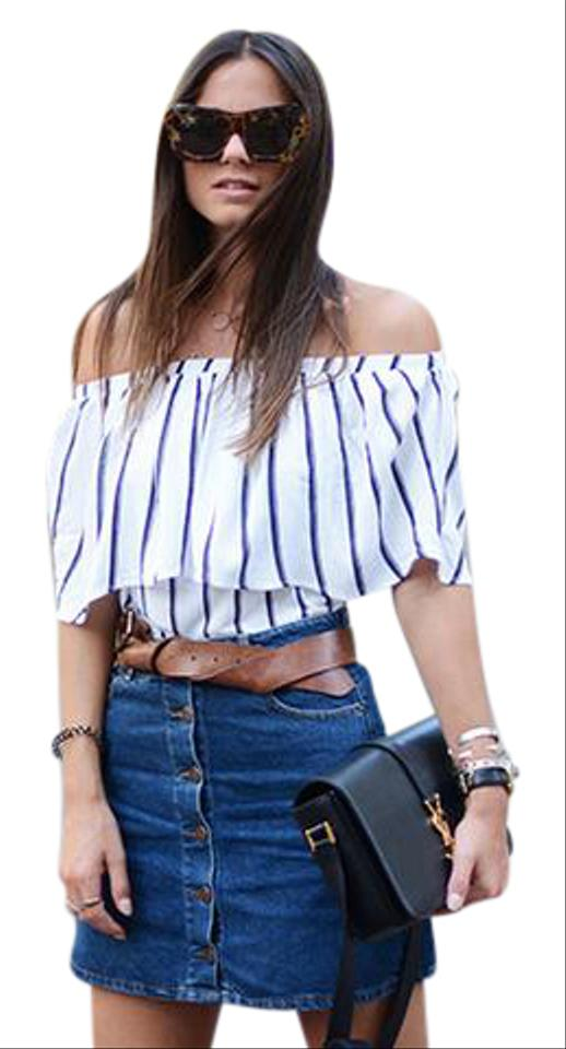 cd6ea397 Zara White and Navy Blue Stripped Off The Shoulder Blouse Size 4 (S)