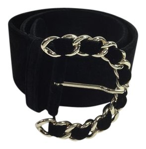Chanel Black Velvet and Chain Buckle Belt